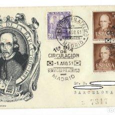 Sellos: SOBRE SPD (1951), ALFIL, ESCRITORES: EMISIÓN CONMEMORATIVA - PEDRO CALDERÓN DE LA BARCA (1600-1681). Lote 178099040