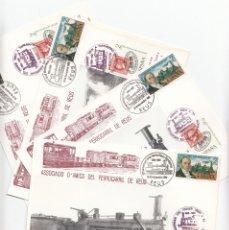 Sellos: 4 TARJETAS DE TRENES CON MATASELLOS DE 125 ANIV. LINEA FÉRREA DE REUS A TARRAGONA -1981 -FERROCARRIL. Lote 178280713