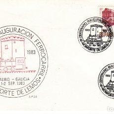 Sellos: MATASELLOS CENTENARIO INAUGURACION FERROCARRIL - MONFORTE DE LEMOS 1983. Lote 178295503
