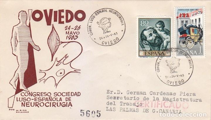MEDICINA NEUROCIRUGIA CONGRESO LUSO-ESPAÑOL, OVIEDO (ASTURIAS) 1963 MATASELLOS EN SOBRE CIRCULADO MS (Sellos - Historia Postal - Sello Español - Sobres Primer Día y Matasellos Especiales)