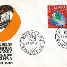 Timbres: SALON DE LAS ARTES GRAFICAS Y DEL ENVASE Y EMBALAJE EN BCN - SOBRE PRIMER DÍA CIRCULACIÓN 1981. Lote 178589766