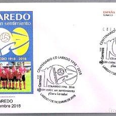 Sellos: MATASELLOS 100 AÑOS CD LAREDO - FUTBOL. LAREDO, CANTABRIA, 2018. Lote 179030437