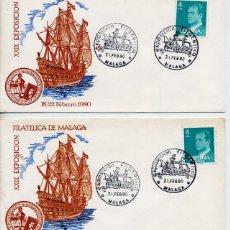 Sellos: MALAGA 1980 - XXIX EXPOSICION FILATELICA DE MALAGA - LOTE DE 2 SOBRES . Lote 179197657