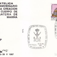 Sellos: CUERPO DE INFANTERIA MARINA 450 ANIVERSARIO, CARTAGENA (MURCIA) 1987. RARO MATASELLOS EN SOBRE ALFIL. Lote 179315137