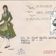 Sellos: TRAJE DE LERIDA TRAJES TIPICOS ESPAÑOLES 1969 (EDIFIL 1901) EN SOBRE PRIMER DIA CIRCULADO DE MS RARO. Lote 179315755