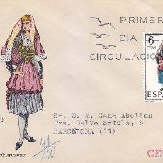 Sellos: TRAJE DE NAVARRA TRAJES TIPICOS ESPAÑOLES 1969 (EDIFIL 1907) EN SOBRE PRIMER DIA CIRCULADO MS. RARO.. Lote 179318452