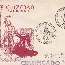 Sellos: GUZMAN EL BUENO VII CENTENARIO, LEON 1956. MATASELLOS EN SOBRE CIRCULADO DE ALFIL. RARO ASI.. Lote 179515003