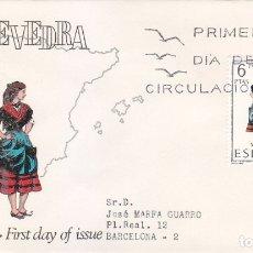 Sellos: TRAJE DE PONTEVEDRA TRAJES TIPICOS ESPAÑOLES 1970 (EDIFIL 1950 RARO SOBRE PRIMER DIA CIRCULADO ALFIL. Lote 179554206