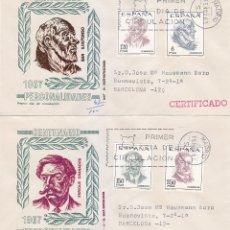 Sellos: CENTENARIOS DE CELEBRIDADES 1967 (EDIFIL 1830/33) EN DOS RAROS SOBRES PRIMER DIA CIRCULADOS MS. MPM.. Lote 180199816