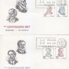 Sellos: CENTENARIOS DE CELEBRIDADES 1967 (EDIFIL 1830/33) EN DOS SOBRES PRIMER DIA DE MUNDO FILATELICO. MPM.. Lote 180200145