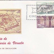 Sellos: MONASTERIO DE VERUELA ZARAGOZA 1967 (EDIFIL 1834/36) EN SOBRE PRIMER DIA DE MUNDO FILATELICO. MPM.. Lote 180201992