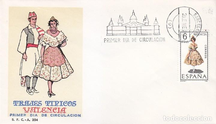 TRAJE DE VALENCIA TRAJES TIPICOS ESPAÑOLES 1971 (EDIFIL 2014) EN SPD DEL SFC MATASELLOS BARCELONA. (Sellos - Historia Postal - Sello Español - Sobres Primer Día y Matasellos Especiales)