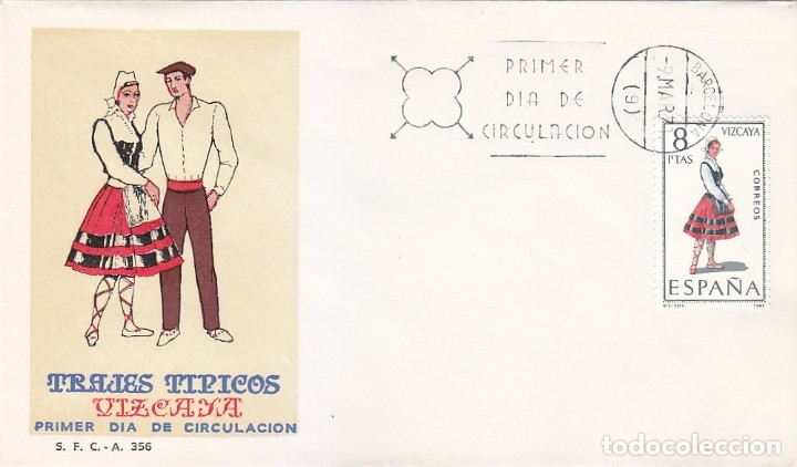TRAJE DE VIZCAYA TRAJES TIPICOS ESPAÑOLES 1971 (EDIFIL 2016) EN SPD DEL SFC MATASELLOS BARCELONA. (Sellos - Historia Postal - Sello Español - Sobres Primer Día y Matasellos Especiales)