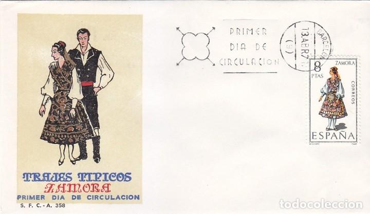 TRAJE DE ZAMORA TRAJES TIPICOS ESPAÑOLES 1971 (EDIFIL 2017) EN SPD DEL SFC MATASELLOS BARCELONA. (Sellos - Historia Postal - Sello Español - Sobres Primer Día y Matasellos Especiales)