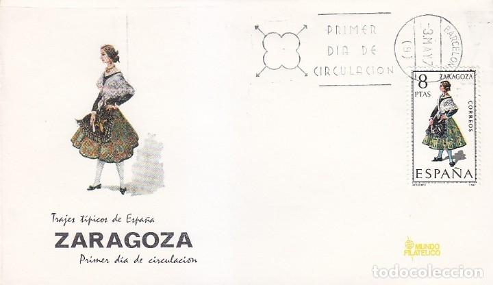 TRAJE DE ZARAGOZA TRAJES TIPICOS ESPAÑOLES 1971 (EDIFIL 2018) EN SPD DE MF MATASELLOS BARCELONA. (Sellos - Historia Postal - Sello Español - Sobres Primer Día y Matasellos Especiales)