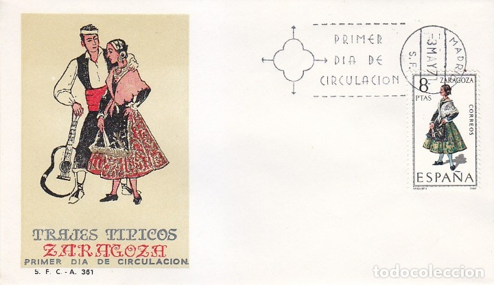 TRAJE DE ZARAGOZA TRAJES TIPICOS ESPAÑOLES 1971 (EDIFIL 2018) EN SPD DEL SFC MATASELLOS MADRID. (Sellos - Historia Postal - Sello Español - Sobres Primer Día y Matasellos Especiales)