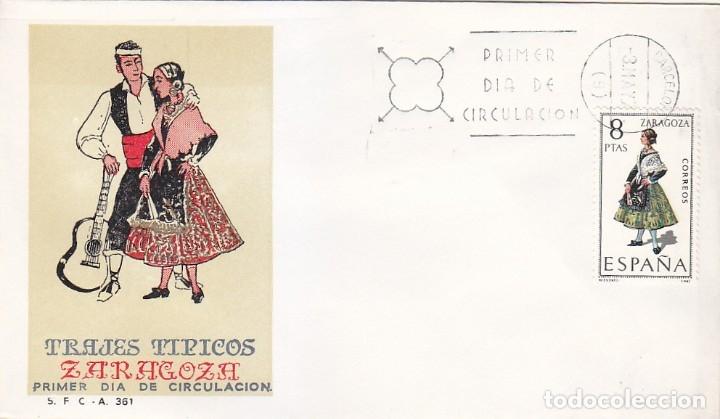 TRAJE DE ZARAGOZA TRAJES TIPICOS ESPAÑOLES 1971 (EDIFIL 2018) EN SPD DEL SFC MATASELLOS BARCELONA. (Sellos - Historia Postal - Sello Español - Sobres Primer Día y Matasellos Especiales)