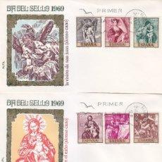 Sellos: PINTURA ALONSO CANO 1969 (EDIFIL 1910/19) EN CUATRO SOBRES PRIMER DIA ALFIL BONITOS Y RAROS ASI. MPM. Lote 180896710