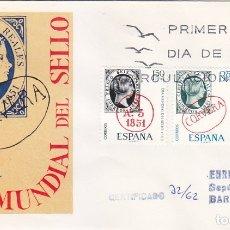 Sellos: DIA MUNDIAL DEL SELLO 1969 (EDIFIL 1922/23) EN SPD CIRCULADO DEL SERVICIO FILATELICO. MUY RARO ASI.. Lote 180900172
