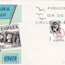 Sellos: DIA MUNDIAL DEL SELLO 1969 (EDIFIL 1922/23) EN SOBRE PRIMER DIA DE ALFIL. BONITO Y RARO ASI. MPM.. Lote 180900430