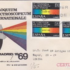 Sellos: XV COLLOQUIUM SPECTROSCOPICUM INTERNATIONALE 1969 (EDIFIL 1924 TRES SELLOS) EN SPD CIRCULADO MS. MPM. Lote 180901468
