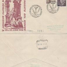 Sellos: AÑO 1958, EXPOSICION DEL SINDICATO DEL SGURO, SOBRE DE ALFIL CIRCULADO. Lote 235962760