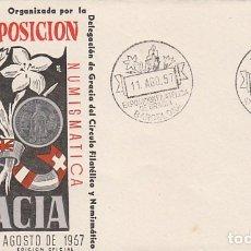 Sellos: AÑO 1957, EXPOSICION FILATELICA DE GRACIA, SOBRE OFICIAL DE LA EXPOSICION NUMERADO. Lote 235958465