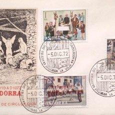 Selos: ANDORRA. SPD 79/84 NAVIDAD Y COSTUMBRES POPULARES. 1972. MATASELLO PRIMER DÍA: 5.DIC.72 ANDORRA LA V. Lote 182350593