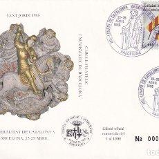 Sellos: TARJETA CONMEMORATIVA Y SOBRE / SANT JORDI 1988, XV EXHIBICIÓN FILATÉLICA Y NUMISMÁTICA. Lote 182840675