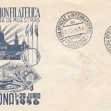 Sellos: AÑO 1956, FERIA INTERNACIONAL MUESTRAS BARCELONA, MATASELLO ESTAFETA FERIA SOBRE DE GOMIS. Lote 182868266