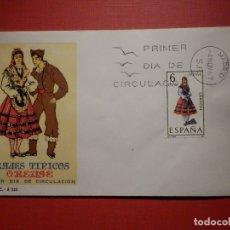 Sellos: SOBRE PRIMER DÍA DE CIRCULACIÓN S.P.D - TRAJES TIPICOS ORENSE - EDIFIL 1908 S.F.C.-A.323. Lote 182882597