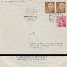 Sellos: AÑO 1955, FERIA INTERNACIONAL MUESTRAS DE BARCELONA, MATASELLO CERTIFICADO DE LA ESTAFETA, CIRCULADO. Lote 183173080