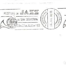 Sellos: MUSICA JAZZ FESTIVAL DE SAN SEBASTIAN (GUIPUZCOA) 1980. MATASELLOS DE RODILLO EN SOBRE.. Lote 183334045