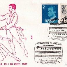 Sellos: MUSICA HIMNO LA BALANGUERA VII EXPOSICION, LLOSETA (BALEARES) 1985. MATASELLOS EN SOBRE ALFIL. MPM.. Lote 183335215