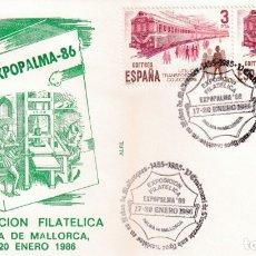 Sellos: IMPRENTA V CENTENARIO EXPOPALMA, PALMA DE MALLORCA (BALEARES) 1986 RARO MATASELLOS EN SOBRE DE ALFIL. Lote 183335576
