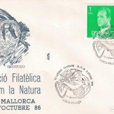 Sellos: PROTECCION NATURALEZA AVES BIGOTUDO VIII EXPOSICION, LLOSETA (BALEARES) 1986. MATASELLOS SOBRE ALFIL. Lote 183336165