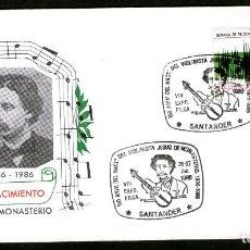 Sellos: SOBRE CONM. 150 ANIV. NACIMIENTO DEL VIOLONISTA JESUS DE MONASTERIO - SANTANDER 1986. Lote 183409063