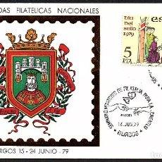 Sellos: SOBRE CONMEMORATIVO XX JORNADAS FILATELICAS NACINALES EN BURGOS 1979. Lote 183492017
