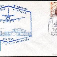 Sellos: SOBRE CONM. 1ª EXP. FILATELICA AEROPUERTO DE BARAJAS 1.986. Lote 183492861