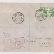 Sellos: SOBRE MATASELLOS MADRID DÍA DEL SELLO. 12 OCTUBRE 1945. CONDE DE SAN LUIS. A TÁNGER. LLEGADA DORSO. Lote 183975025