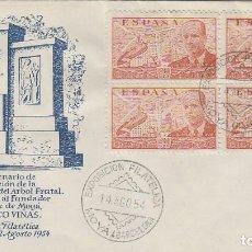 Sellos: AÑO 1954, MOYA, 50 ANIVERSARIO LIGA DE DEFENSA DEL ARBOL FRUTAL, SOBRE DE ALFIL. Lote 184019401