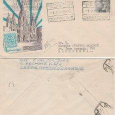 Sellos: AÑO 1954, FERIA INTERNACIONAL DE MUESTRAS BARCELONA, MATASELLO CERTIFICADO ESTAFETA ALFIL CIRCULADO. Lote 184027710