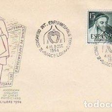 Sellos: AÑO 1954, ENFERMEDADES DEL TORAX, CONGRESO INTERNACIONAL EN BARCELONA, SOBRE DE ALFIL. Lote 184030856