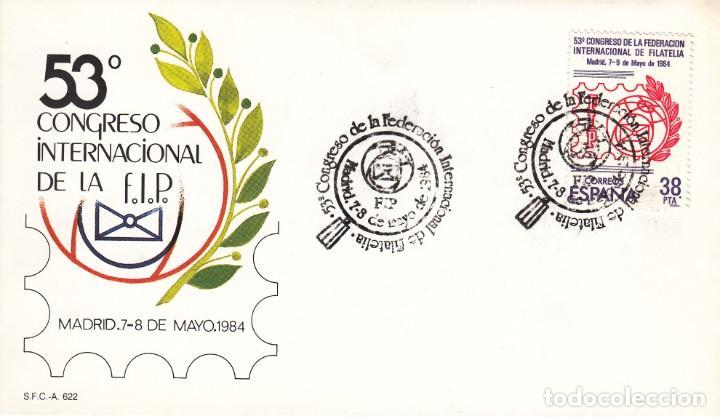 SOBRE: 1984 MADRID. 53 CONGRESO INTERNACIONAL DE LA FEDERACION INTERNACIONAL DE FILATELIA ( FIP) / 3 (Sellos - Historia Postal - Sello Español - Sobres Primer Día y Matasellos Especiales)