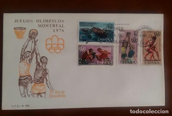 SPD JUEGOS OLÍMPICOS DE MONTREAL 1976 (Sellos - Historia Postal - Sello Español - Sobres Primer Día y Matasellos Especiales)