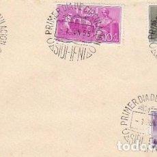Sellos: IFNI EDIFIL 122/4, AGRICULTURA Y CARAVANA, PRO INDIGENAS 19557, PRIMER DIA DE 1-6-1955. Lote 184347318