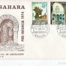 Sellos: SOBRE PRIMER DIA. SAHARA. PRO- INFANCIA. 1974. VER FOTO.. Lote 184518662