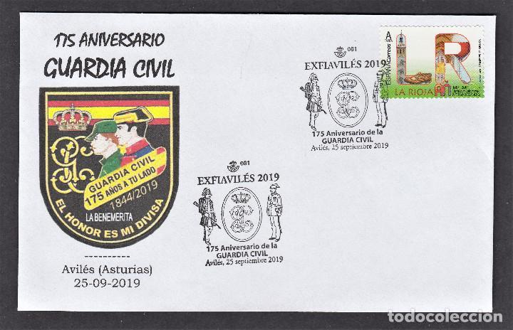 ESPAÑA 2019 MATASELLO ESPECIAL 175 AÑOS DE LA GUARDIA CIVIL - AVILES ASTURIAS (Sellos - Historia Postal - Sello Español - Sobres Primer Día y Matasellos Especiales)