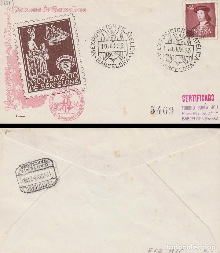 AÑO 1952, FERIA INTERNACIONAL DE MUESTRAS DE BARCELONA, OFICIAL (SELLO AYUNTAMIENTO) CIRCULADO (Sellos - Historia Postal - Sello Español - Sobres Primer Día y Matasellos Especiales)