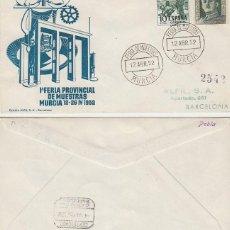Sellos: AÑO 1952, PRIMERA FERIA PROVINCIAL DE MUESTRAS EN MURCIA, SOBRE DE ALFIL CIRCULADO. Lote 185714142